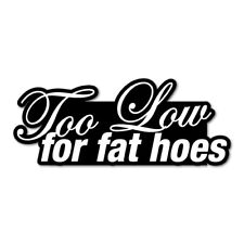 TOO LOW FOR FAT HOES JDM Sticker Decal Car  #0046A