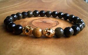 Double Gold Skull Head Gemstone Beaded Bracelet Skulls Jewellery Wicca Gothic UK