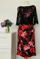 PHASE EIGHT Dress Size 12 BLACK   Rosie Lee FLORAL Lace Ruched STRETCH Wiggle
