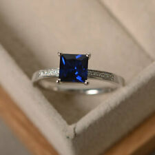 1.40 Carat Blue Sapphire Gemstone Ring 14K Solid White Gold Diamond Size L M N O