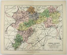 Original 1882 Map of Kings County, Ireland by George Philip. Antique