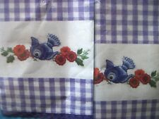 "Tobin Stamped Embroidery Checked Guest Towels ""BLUEBIRD"" kit T212953"