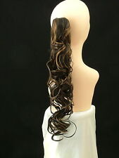 "Clip-On PONY TAIL HAIR EXTENSION Curly 25""  Off Black/Strawberry Blonde   #1B/27"