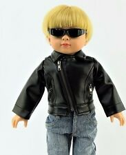 Black Leather Jacket Coat Made for 18 Inch American Girl Doll Clothes Boy