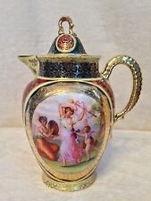 "Antique 19th Century ROYAL VIENNA Austria Beehive CHOCOLATE TEA POT - 8"" Tall"