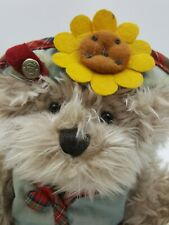 Plush Stuffed Animal Brass Button Bear Blossom 7in
