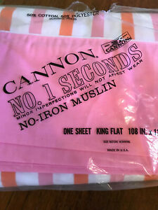 Vtg Cannon Monticello pink orange Stripe King Flat sheet no iron muslin
