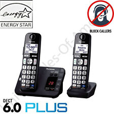 Cordless Phone System 2 Handsets Answer Machine Call Block Panasonic KX-TGE232B