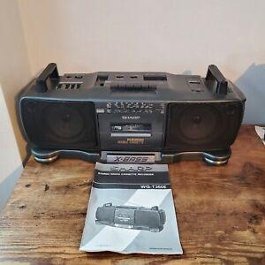 Vintage Sharp X-BASS Radio TWIN Cassette Recorder Boom Box WQ-T360E 1980s RETRO