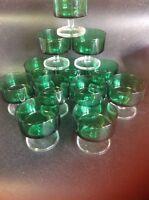 Vintage Dessert Sundae Glasses Green Retro 1960s 1970s Retro Set Of 12