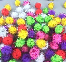 100 Fluffy Craft PomPoms Balls Mixed Colours Pom Poms xmas tinsel festive 18mm