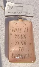 Donner & Blitzen This is Your Year to Sparkle Christmas Ornament   Peach & Gold