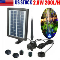 LED Pump Fountain Solar Power Water Pump Panel Pond Pool Fountain for Garden US