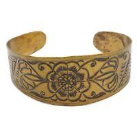 Vintage Fashion Wide Brass Engraved Floral Motif Cuff Costume Bracelet
