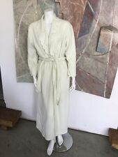 Natori Green Yellow Fleece Womens Robe Belted Bathrobe Bath Size One Size