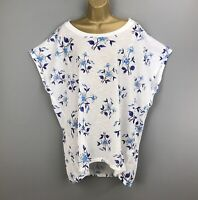 New Blue Vanilla Tunic Top White Blue Floral Flower UK Plus Size 22 24