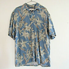 Men's Large Campia Shirt Orchids Chambray Blue, Tan 100% Rayon, soft, Ex condtn