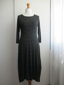 Yong Kim Green & Black Striped Balloon Hem Dress, Size 14