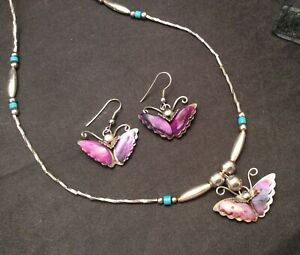 """Vintage Liquid Silver Colorful Abalone Butterfly Necklace And Earrings Set 25"""""""