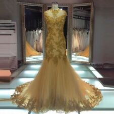 Real Mermaid Wedding Dress Formal Gold Tulle Lace Appliques Beading Bridal Gowns