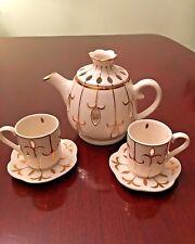 Party Lite Ivory & Gold Teapot Votive Candle Holder set Of 2 Teacups/Saucers