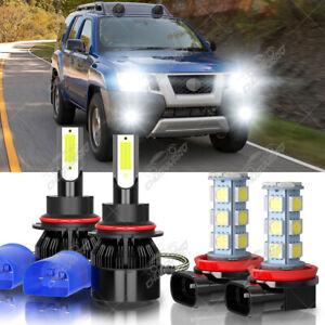 For Nissan Xterra 2005-2015 - 4X 6000K LED Headlight Hi/Lo Beam + Fog Light Bulb