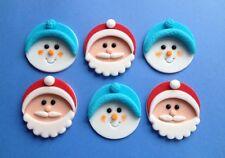 6 Commestibile Pasta di Zucchero SANTA & SnowMen Natale Cupcake / DECORAZIONI PER TORTA