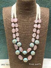 Women's Bridal Indian Kundan Necklace Pearl Pink Jade Stone Jewelry Earring Set