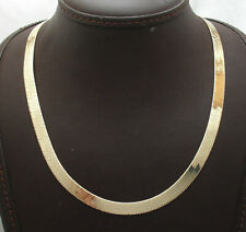 Technibond 7mm Herringbone Chain Necklace 14K Yellow Gold Clad Sterling Silver