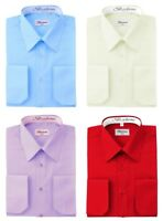 Berlioni Men's Pointed Collar Standard Cuffs Solid Colors Dress Shirts
