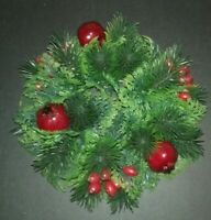 Vintage Christmas Plastic Evergreen Persimmon Fruit Centerpeice Candle Wreath