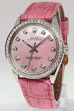 Rolex Oyster Perpetual Stainless Steel Pink MOP Diamond Ladies Watch 1002