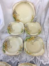 "Royal Winton Grimwades ""Yellow Morn""  - Art Deco Dessert Bowl Set 1  Large + 4 S"
