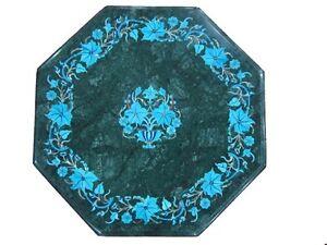 "24"" Green Marble Side Table Top Rare Turquoise Pietradura Mosaic Home Decor H341"