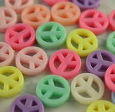 100 Peace Sign Charms for Kandi Pony Bead Bracelet Necklaces Bubblegum Craft Kid