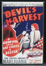 "Marijuana ""Devil's Harvest"" 2"" X 3"" Fridge / Locker Magnet. Weed Cannabis"