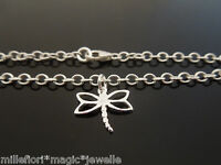 """3mm Sterling Silver Bracelet Or Ankle Chain Anklet Dragonfly Charm 7"""" 8"""" 9"""" 10"""""""