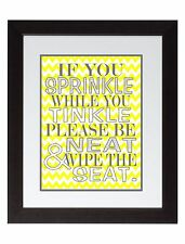 Yellow Gray Chevron Bathroom Rules If You Sprinkle Wall Art Print Poster