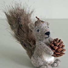 Pin Felt Needle Felted Collectible Miniature Grey Squirrel Pine Cone Gift