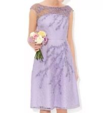 BNWT 💕Monsoon 💕Size 12 Matilda Lilac Lace Embroidered Dress Wedding Races 40EU