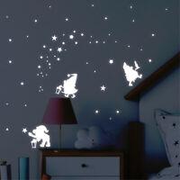 Leuchtaufkleber Kinderzimmer Drei Zwerge und Sterne Laterne leuchten im Dunklen