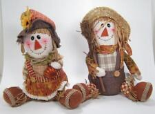 "Plush Boy & Girl Sitting Scarecrow Figurine Set Fall Halloween Decor 11""H"