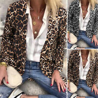 ZANZEA UK Womens Leopard Print Blazer Suit Coats Casual Cardigan Jackets Outwear