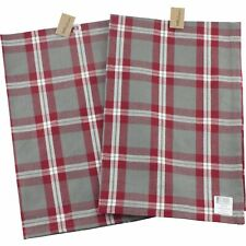 Park Designs Holiday Farmhouse Kitchen Dish Towel Set of 2 Gray White Red Plaid
