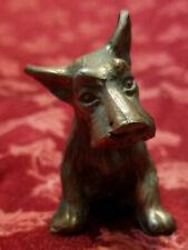 Pristine Vintage Miniature Solid Bronze Scottie Scottish Terrier Dog Figure