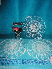 VINTAGE TUPPERWARE NEW LOT OF 3 PLASTIC LACE DOILIES, NAPKIN HOLDERS 5 3/4 # 370