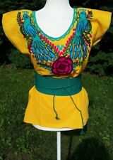 Birds Mexican Blouse Shirt Top Embroidered Flowers Chiapas Belt Faja Medium C006