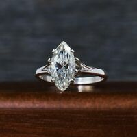 2.5ct Marquise Cut Diamond Split Shank Petite Solitaire Ring 14K White Gold Over