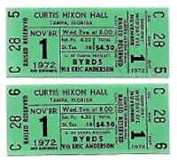 The Byrds Concert Ticket Set of 2 1972 Tampa Green