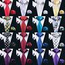 Classic Men's Tie Blue Black Red Paisley 100% Silk Necktie Set Jacquard Woven